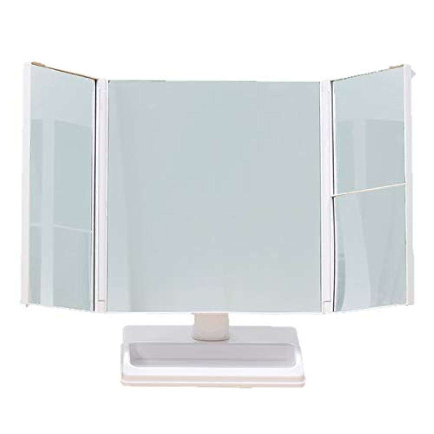 マオリどきどきリファインテーブルで使う拡大鏡付三面ミラー 台座部トレー 360度 回転 卓上ミラー 三面鏡 拡大鏡 化粧鏡 スタンドミラー メイク ヘアアレンジ 頭頂部 チェック