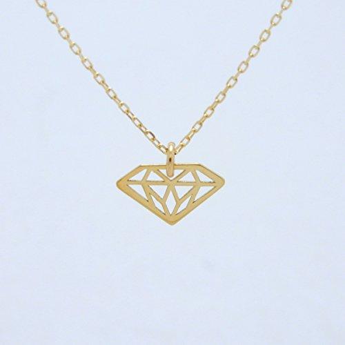 Diamond 18金 K18 gold ゴールド (日本製 Made in Japan) (金属アレルギー対応) ダイヤモンドモチーフ ペンダント ネックレス ジュエリー (Amazon.co.jp 限定) [HJ] (45センチメートル)