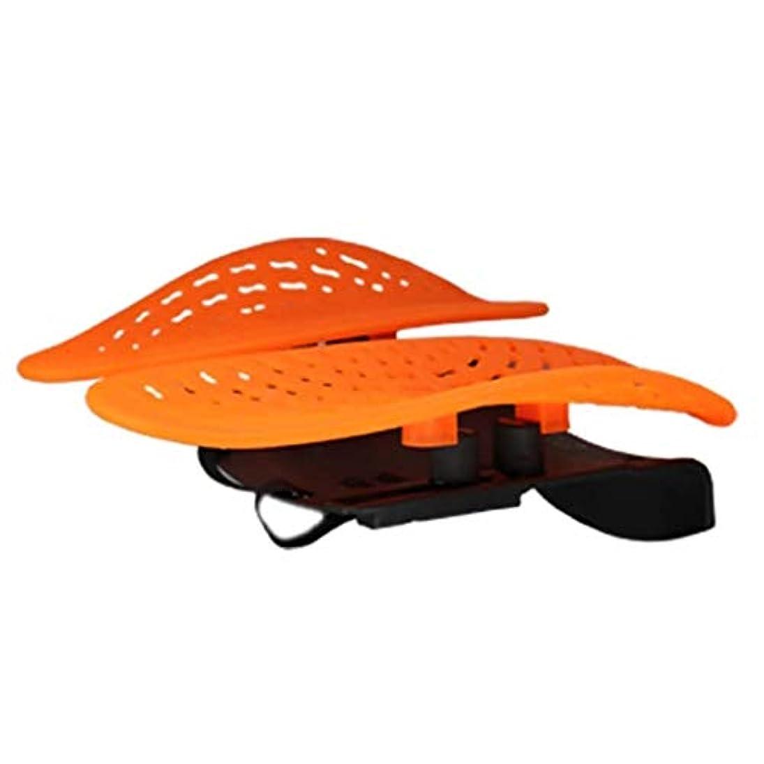 豪華な南アメリカ荒らすウエストマッサージャー、腰椎サポートパッド、アイスシルクバックサポートパッド、ホーム/オフィスチェアや車に適し、背中の痛みを和らげる (Color : オレンジ)