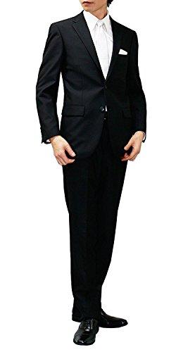 (ノワールシック)noirchic オールシーズン 2つボタン シングルフォーマル アジャスター付 メンズ ブラックスーツ 喪服 礼服 (AB3 [ 着用目安:身長155-160cm/ウエスト82cm前後 ])
