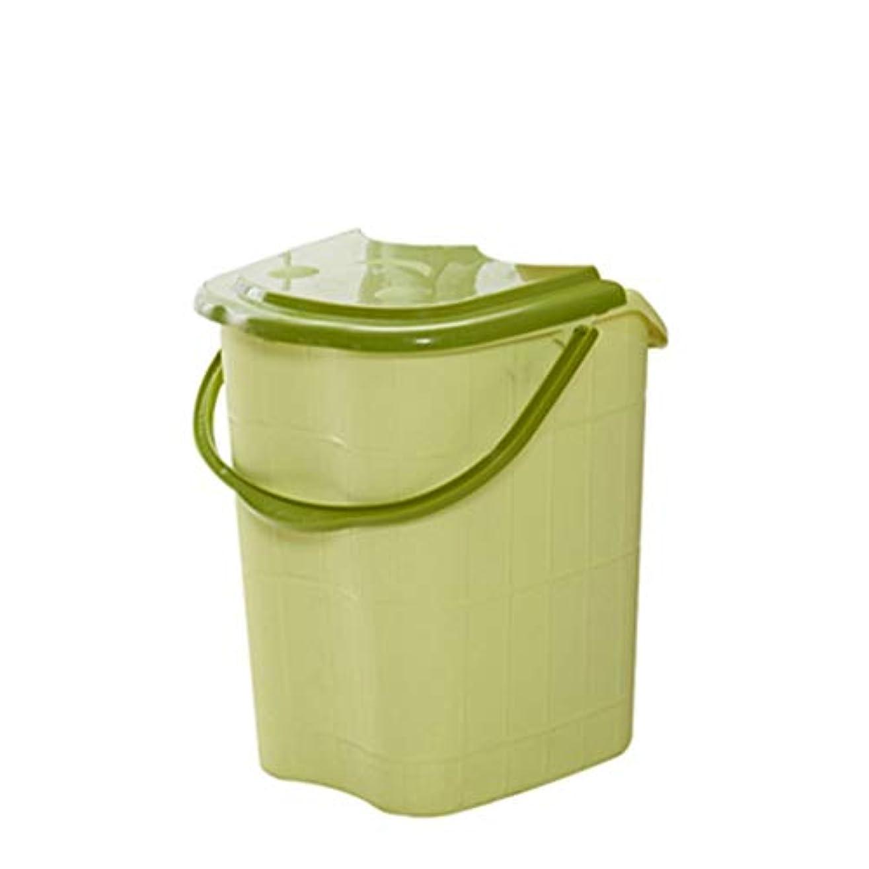 BB- ?AMT高さ特大マッサージ浴槽ポータブルふた付きフットバスバケット熱保存デトックススパボウル 0405 (色 : 緑, サイズ さいず : 44*42*53cm)