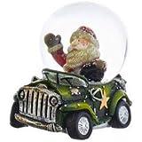 クリスマスロフト ミニチュア サンタ ヴィンテージ グリーン トラック スノードーム