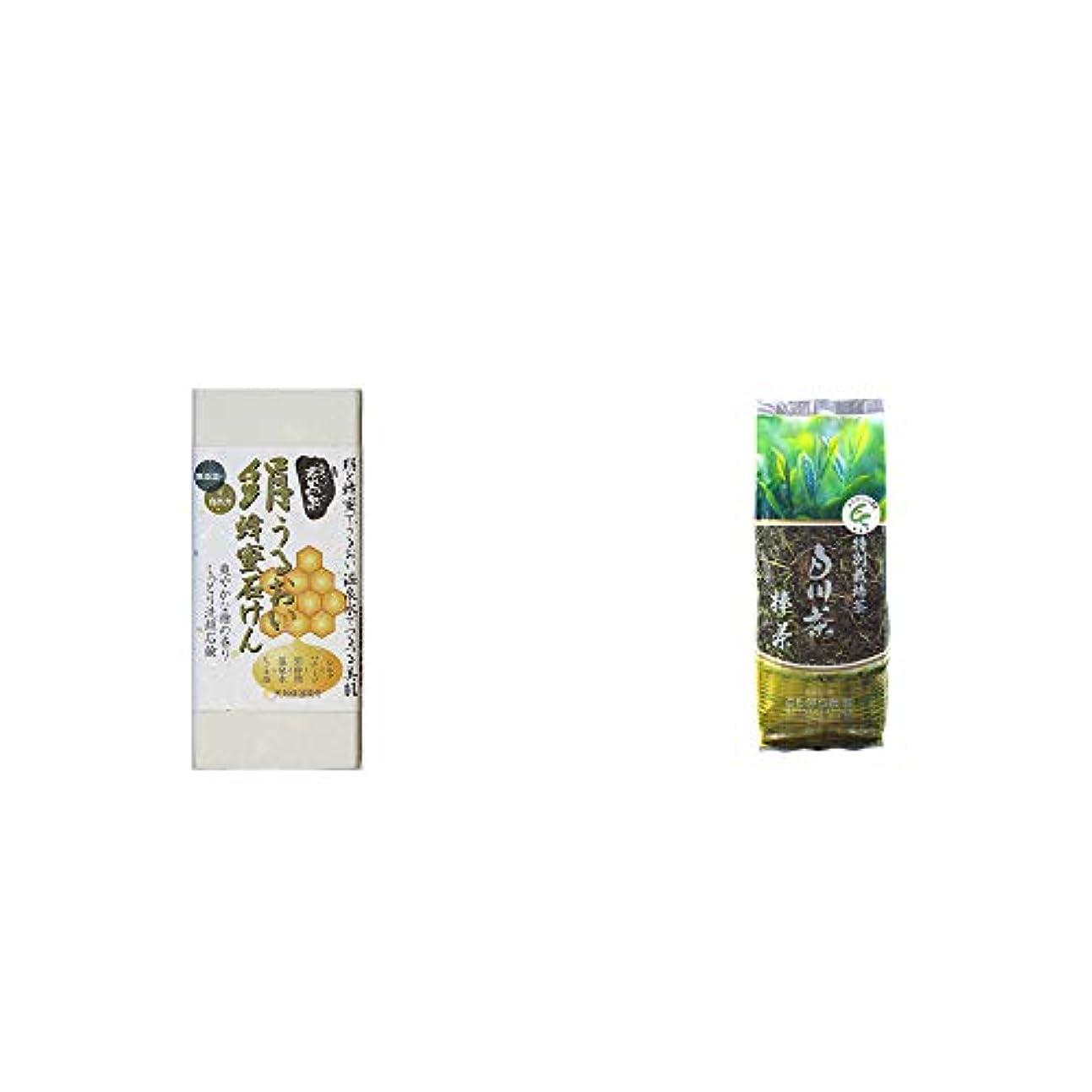 資料苦微弱[2点セット] ひのき炭黒泉 絹うるおい蜂蜜石けん(75g×2)?白川茶 特別栽培茶【棒茶】(150g)
