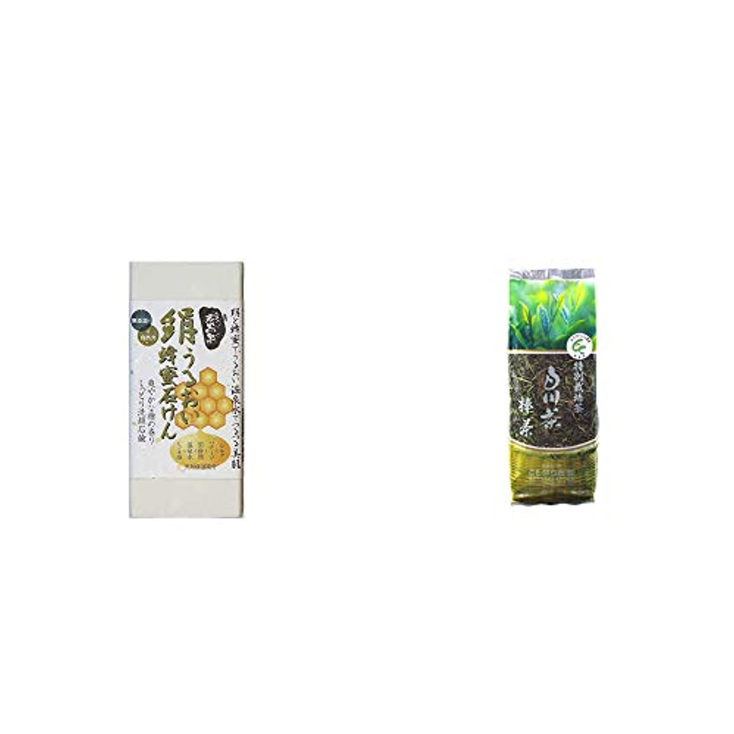 話す機構電気的[2点セット] ひのき炭黒泉 絹うるおい蜂蜜石けん(75g×2)?白川茶 特別栽培茶【棒茶】(150g)
