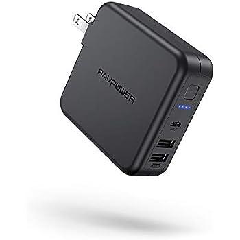 RAVPower モバイルバッテリー 充電器 6700mAh 急速充電 【USB 2ポート 最大5V/3A 軽量 折畳式プラグ 菱&丸PSE認証済】 iPhone iPad Android等対応 RP-PB125 (ブラック)