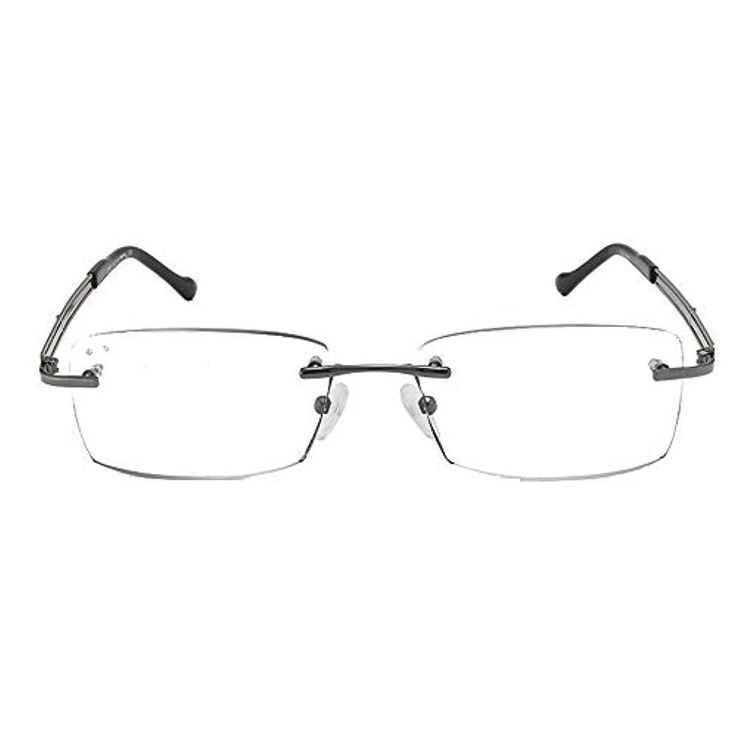 彼は遅い着服ダイヤモンドカットエッジフレームレス老眼鏡、抗青抗疲労HD抗放射線老眼鏡、超薄型超軽量メンズインテリジェントアンチグレア老眼鏡