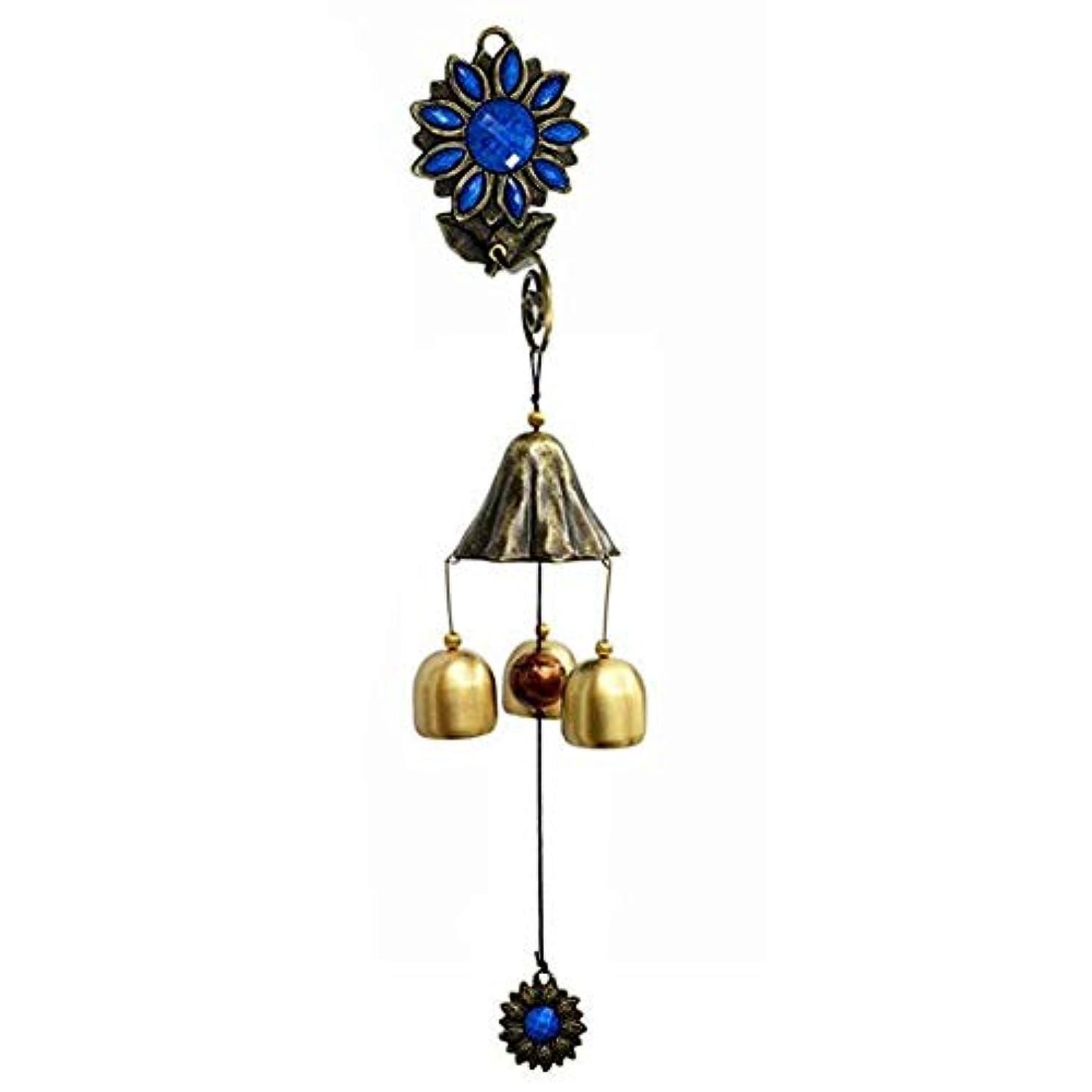 疑問に思う誤って飛躍Hongyuantongxun 風チャイム、ガーデンメタルクリエイティブひまわり風の鐘、グリーン、全長約35CM,、装飾品ペンダント (Color : Blue)