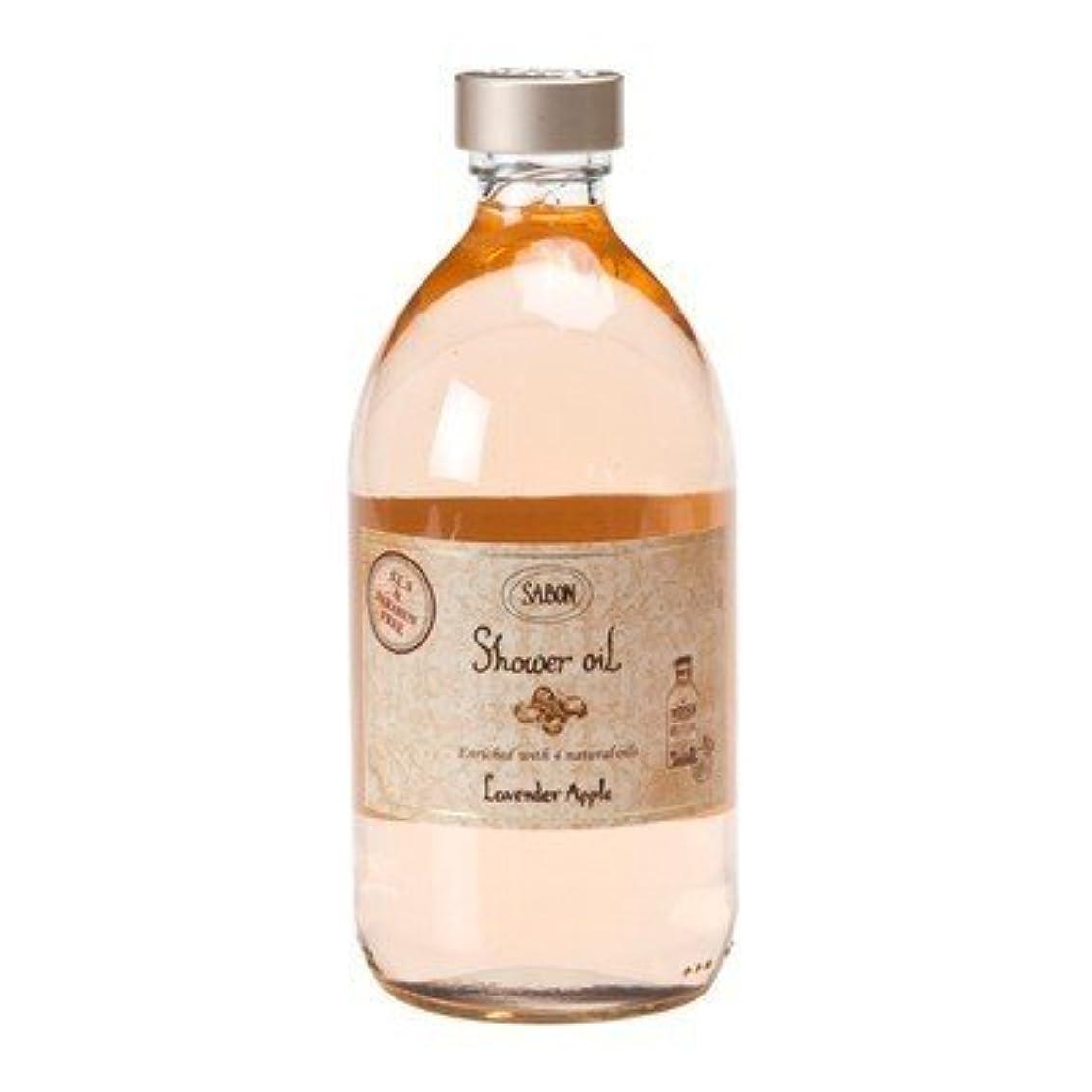 洗剤繁殖相互接続サボン シャワーオイル ラベンダー アップル 500ml 並行輸入品 (ポンプ付き)