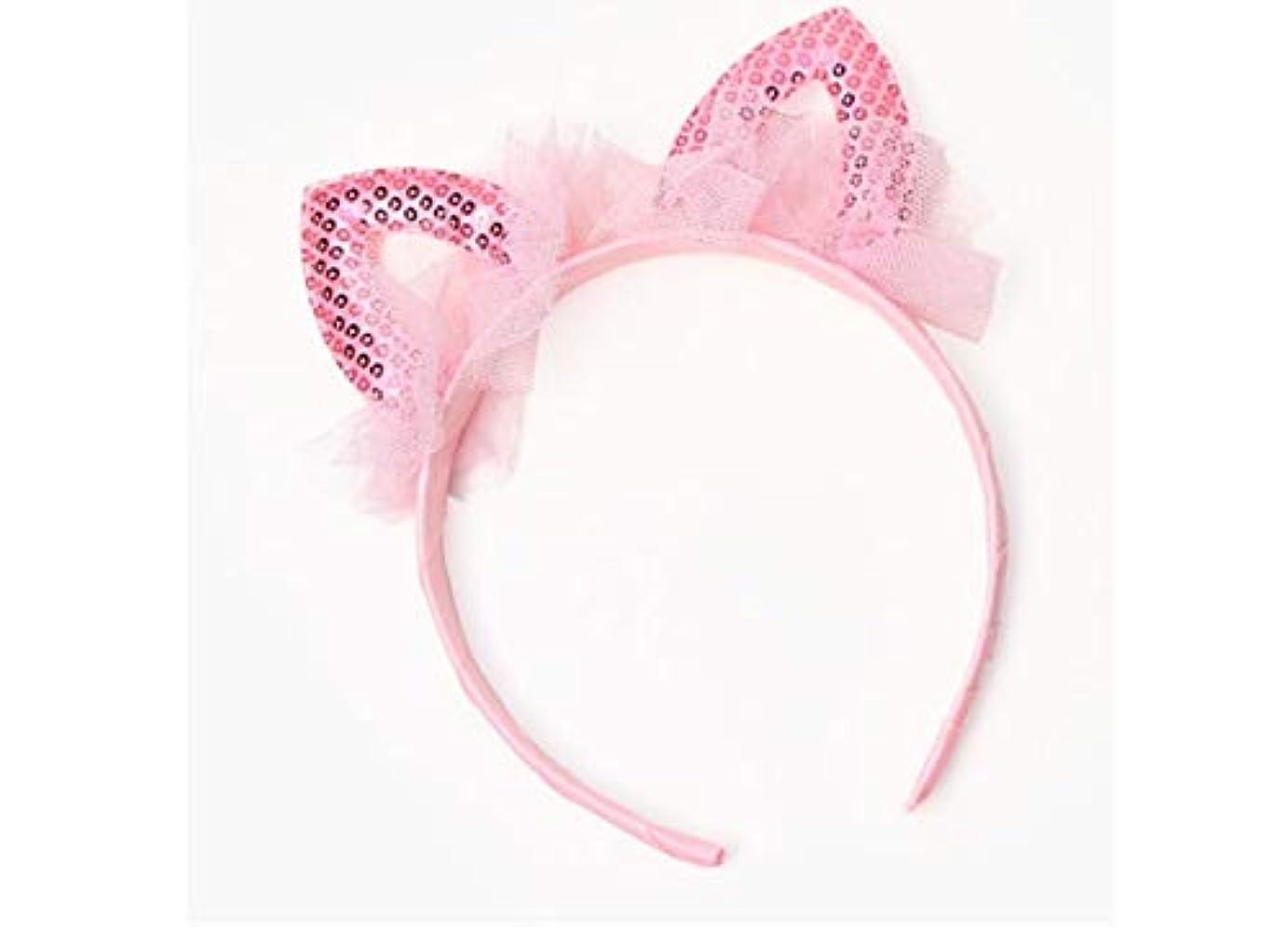 口述寮アパートMINGTAI 子供のヘッドバンド甘いレースの耳おかしいショーヘアピン女の子かわいいヘッドバンド帽子 (Color : Pink)