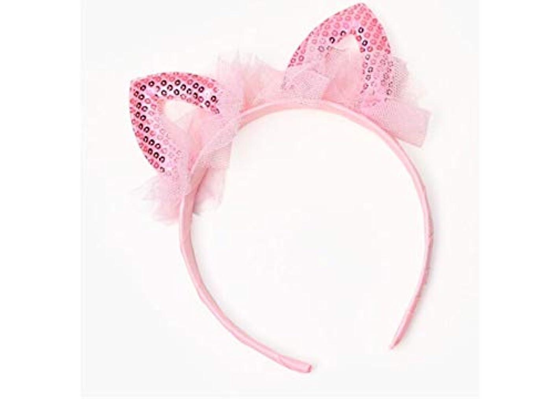 レンダー致死不明瞭YANTING 子供のヘッドバンド甘いレースの耳おかしいショーヘアピン女の子かわいいヘッドバンド帽子 (Color : Pink)