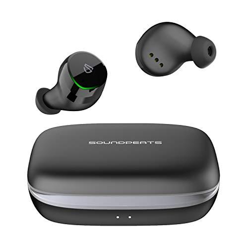 SoundPEATS(サウンドピーツ)BluetoothイヤホンTrueShiftワイヤレスイヤホンTypeC&無線充電IPX7完全防水モバイルバッテリー機能付きBluetooth5.066時間再生自動ペアリングタッチ式ブルートゥースイヤホン両耳&片耳左右分離型マイク内蔵iPhone/Android対応(ブラック)
