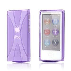 Apple iPod nano 7 デザイン カバー ケース TPU Jelly X Design Case (軽量モデル) アイポッドナノ 2012年 第7世代 iPod nano 7th 対応 + 液晶保護フィルム1枚【Clear X Purple(紫)】
