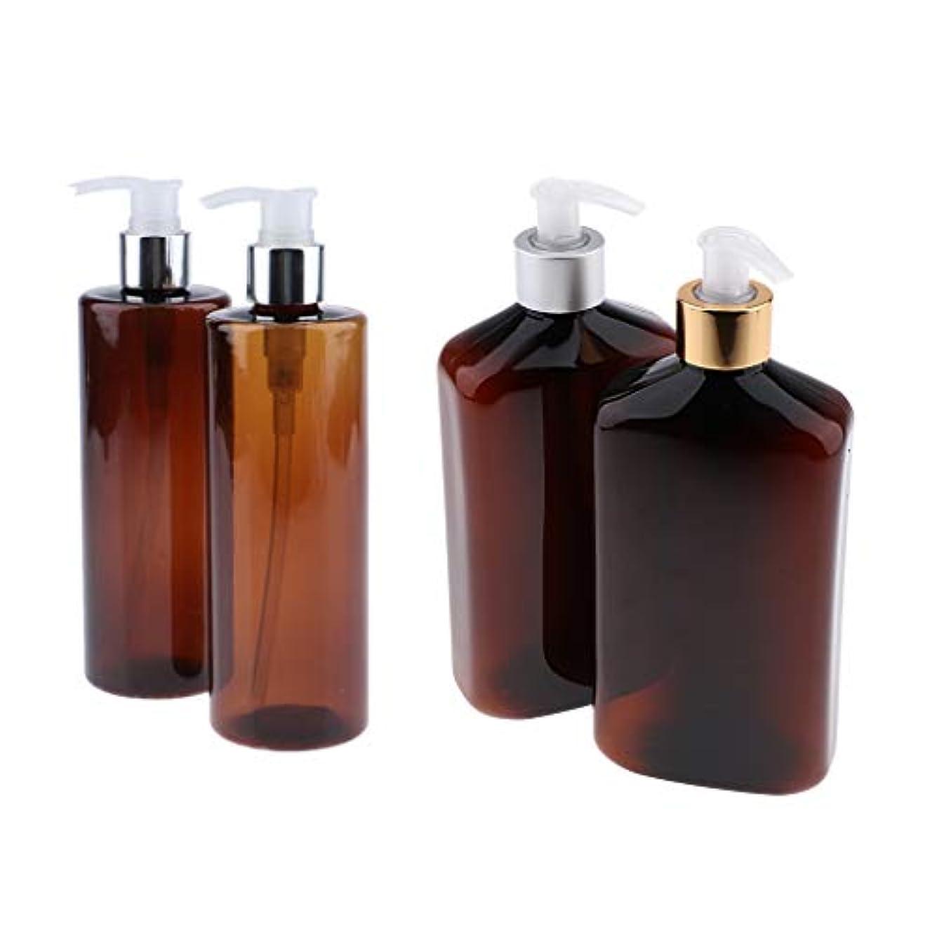 スポンジ香水シルエットPerfeclan ポンプボトル 大容量 ロック可能 プラスチック+アルマイトアルミ シャンプーアトマイザー 4本セット