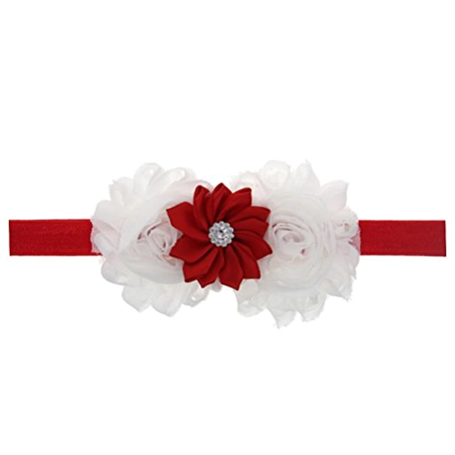Zhhlaixing ベビー小物 Kids Baby Girls Soft Elastic Flowers Headband Hairband Hair Accessories for Christmas 5130