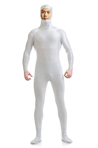 (YUUWA)全身タイツ 顔部分が開いている ゼンタイ 伸縮抜群 コスチューム仮装 白 男性XL …