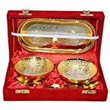 Gold Plated Brass Bowls Set Serving Bowl Brass Bowl for Gift Decorative Tableware Diwali Gift Item Silver Plated Gold Polishe