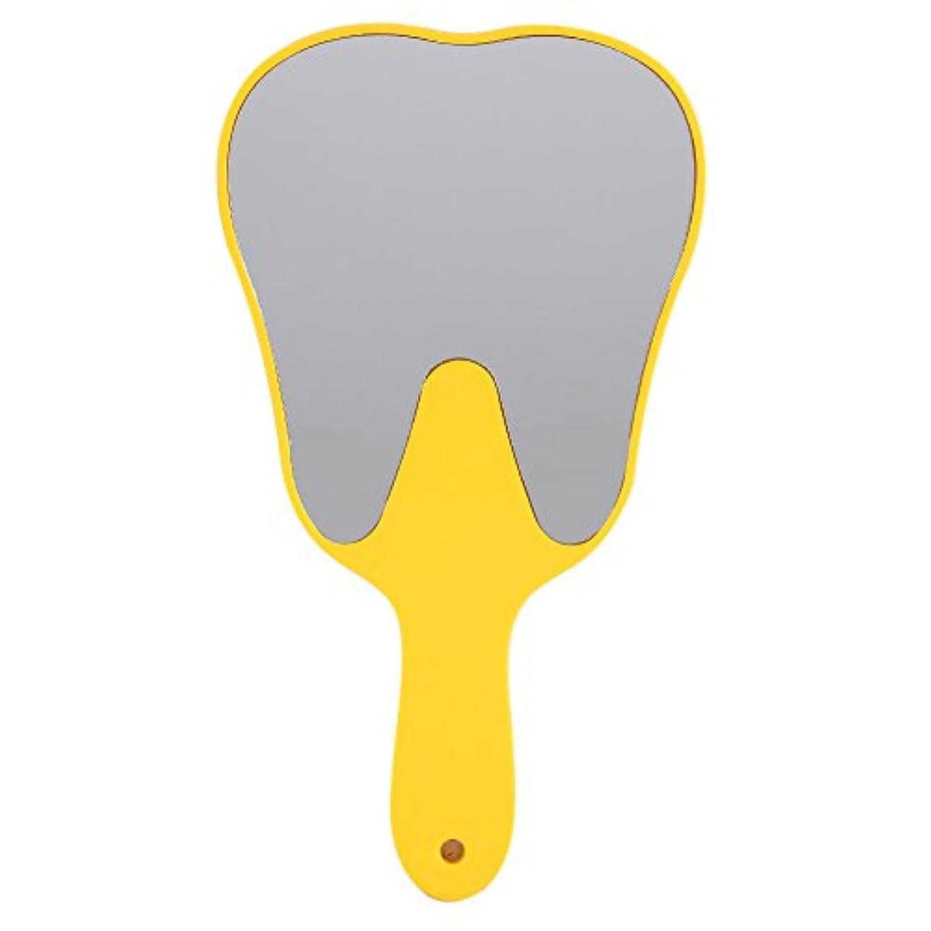 マネージャー修羅場精査するおしゃれな便利なかわいいプラスチックハンドル歯歯科ケアハンドミラーツール(黄色)