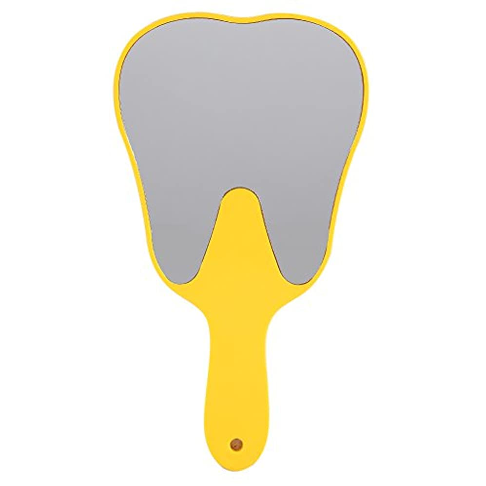 十代の若者たちめまいが私たちのおしゃれな便利なかわいいプラスチックハンドル歯歯科ケアハンドミラーツール(黄色)