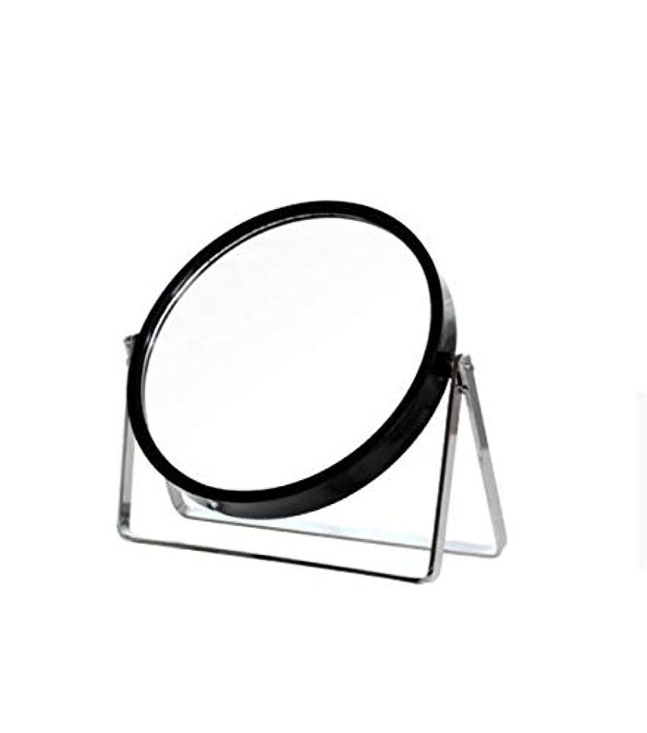 休日に衝撃ウール化粧鏡、シンプルなラウンドホーム寮デスクトップ化粧鏡化粧ギフト (Color : ブラック)