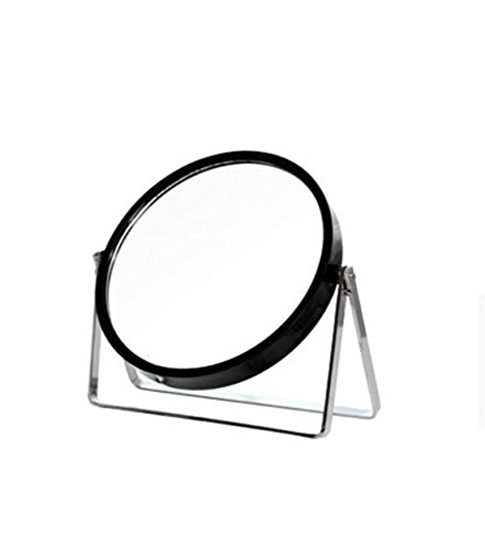 大挨拶する持つ化粧鏡、シンプルなラウンドホーム寮デスクトップ化粧鏡化粧ギフト (Color : ブラック)