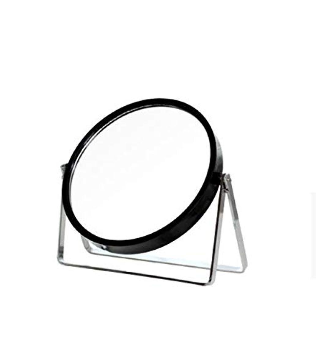 かわいらしいレンディションスクワイア化粧鏡、シンプルなラウンドホーム寮デスクトップ化粧鏡化粧ギフト (Color : ブラック)