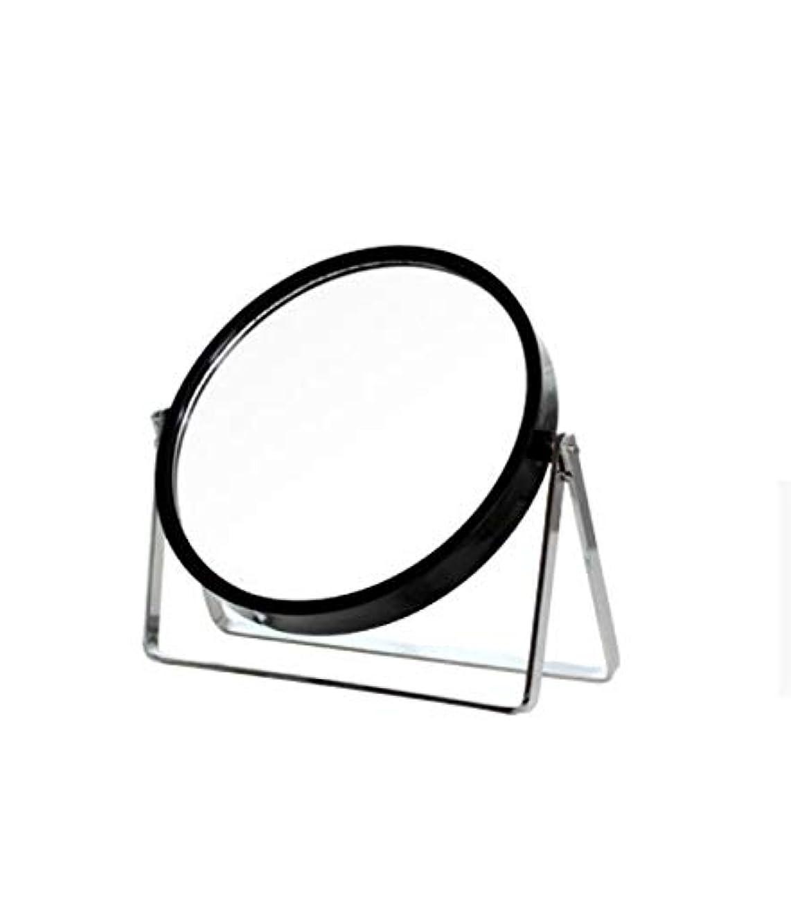 忙しい閉じ込める吹雪化粧鏡、シンプルなラウンドホーム寮デスクトップ化粧鏡化粧ギフト (Color : ブラック)