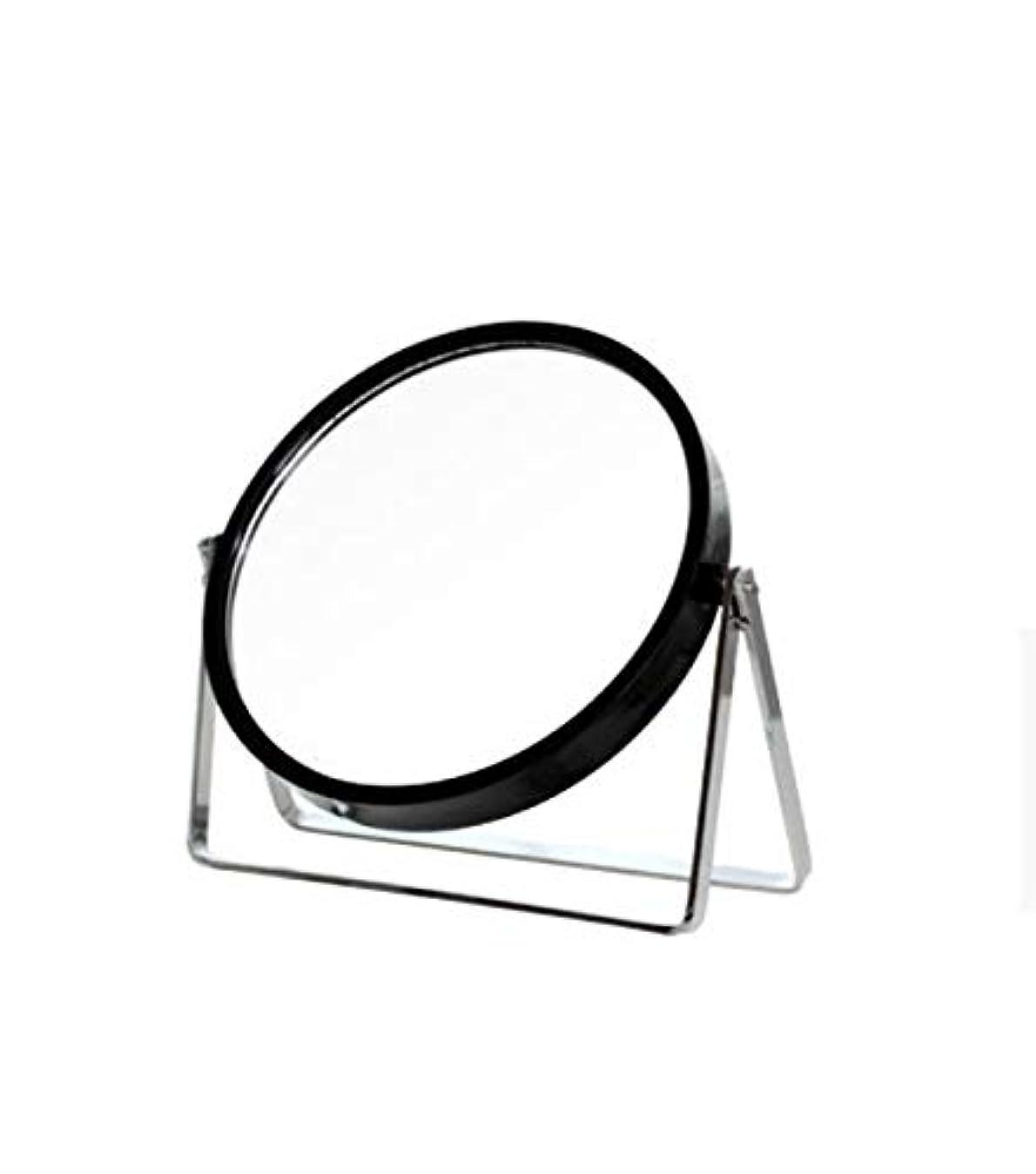 コントラストに対応ハンディキャップ化粧鏡、シンプルなラウンドホーム寮デスクトップ化粧鏡化粧ギフト (Color : ブラック)