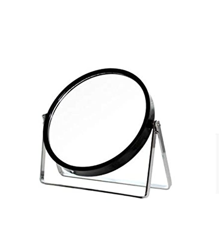 誘惑動的本部化粧鏡、シンプルなラウンドホーム寮デスクトップ化粧鏡化粧ギフト (Color : ブラック)