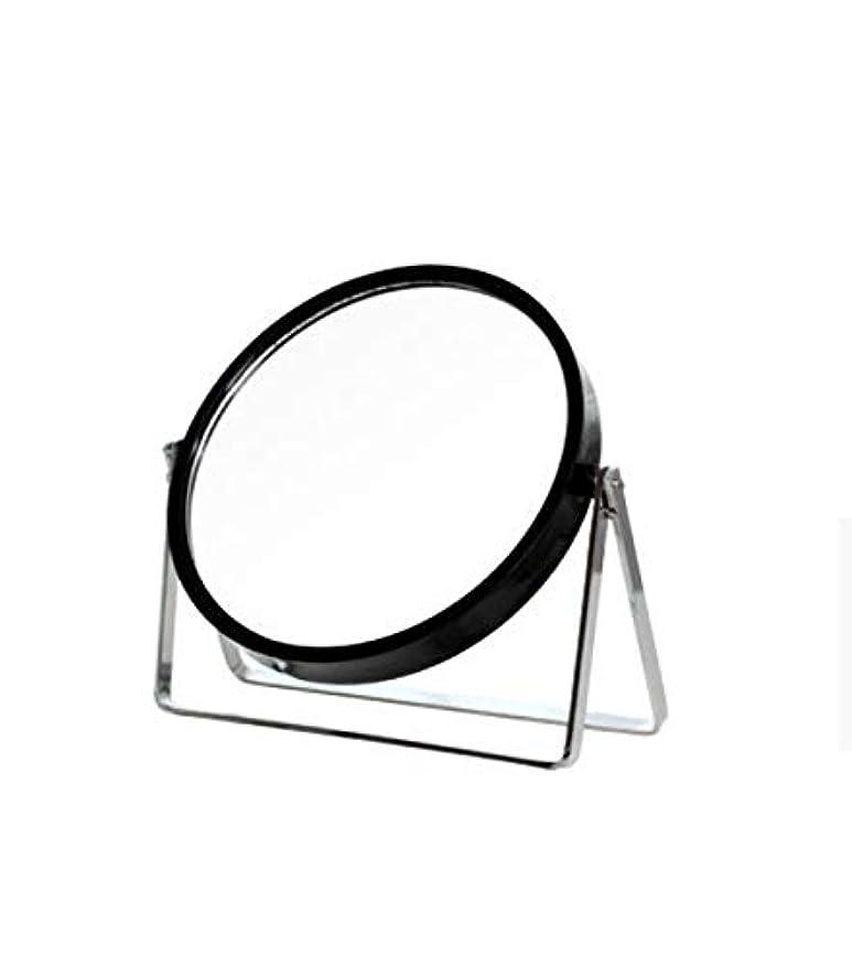 始まり矩形領域化粧鏡、シンプルなラウンドホーム寮デスクトップ化粧鏡化粧ギフト (Color : ブラック)