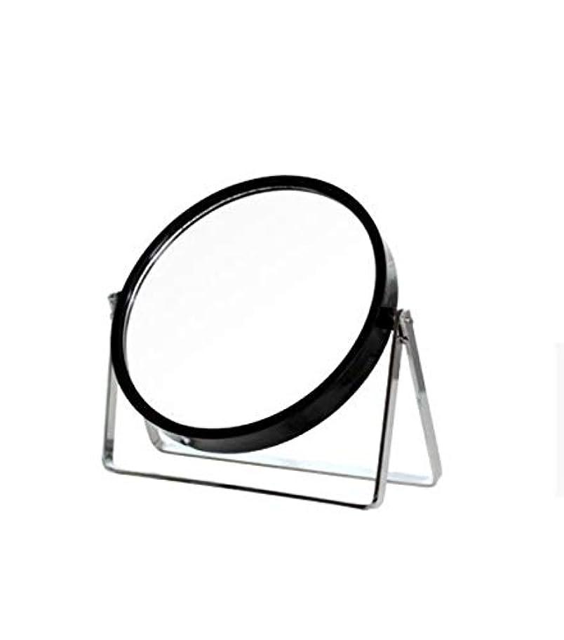 泥沼西部略奪化粧鏡、シンプルなラウンドホーム寮デスクトップ化粧鏡化粧ギフト (Color : ブラック)