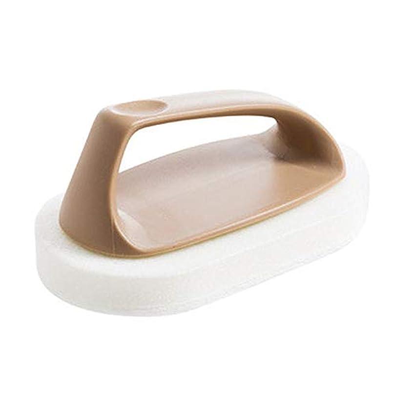 束枕抽選ポアクリーニング スポンジバスバスルーム強力な汚染除去タイルキッチンウォッシュポットクリーニングブラシストーブスポンジ2 PC マッサージブラシ (色 : 褐色)
