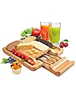 "竹チーズボードセット、Fitnate Square Cheese Cutting Board withカトラリーセット、Large Cuttingサーフェス& Hidden Drawer forナイフ&フォークfor Holiday GatheringチーズパーティーWinery Charcuterie 13 "" x 13 """