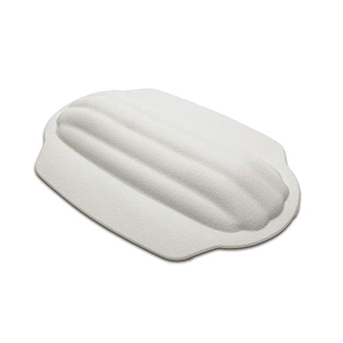一次贅沢原告浴槽枕 頭と首と背中をサポートする美容スパバスヘッドレストにおけるバスマットの首枕ヘッドレスト バスルーム枕 (色 : 白, サイズ : 32 x 23cm)