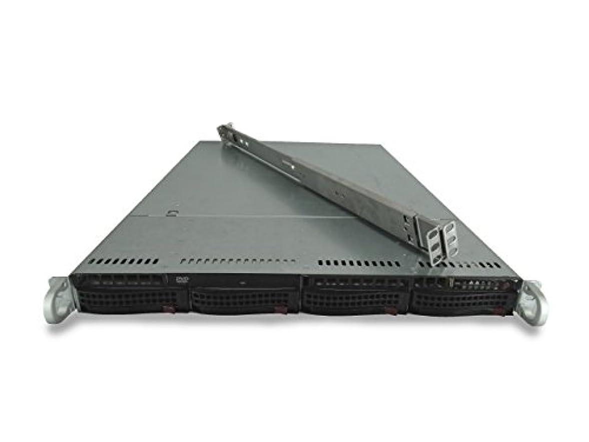 ハチ消える債務Supermicro SuperChassis CSE-815 4-Bay LFF 1U サーバー X9DRi-LN4F+、2X E5-2667 Forti6C、16GB DDR3、4X 4TB 7.2K SATA 6Gbps 3.5、オンボードRAID、1x 560W PSU、レール(認定整備品)