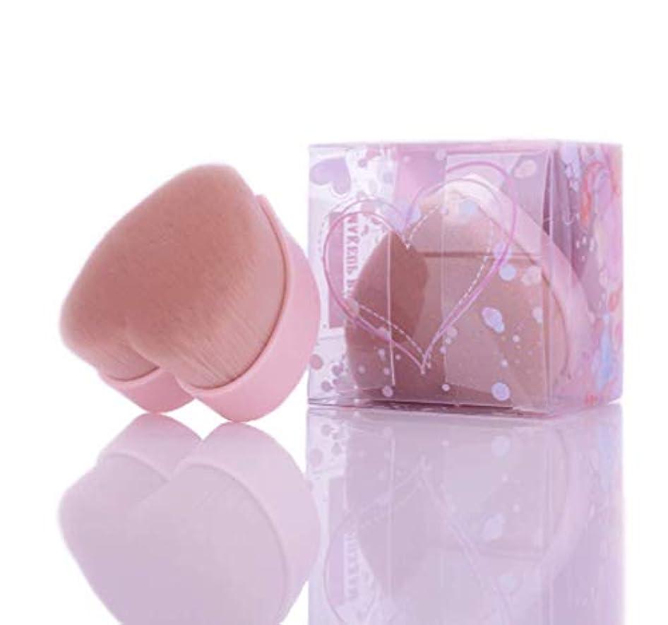符号修道院盆メイクブラシ 化粧ブラシ パウダーブラシ 高級繊維毛 極上の肌触り ハート型ブラシ ピンク