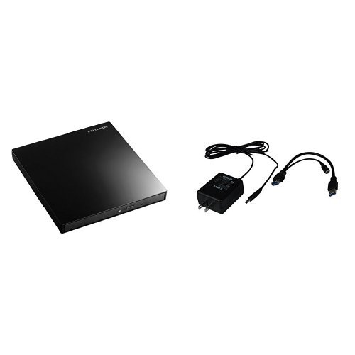 I-O DATA Blu-ray ブルーレイ BDドライブ mac 外付け ポータブル USB3.0 EX-BD03K + ACアダプター バスパワーUSB機器用 USB-ACADP5 セット
