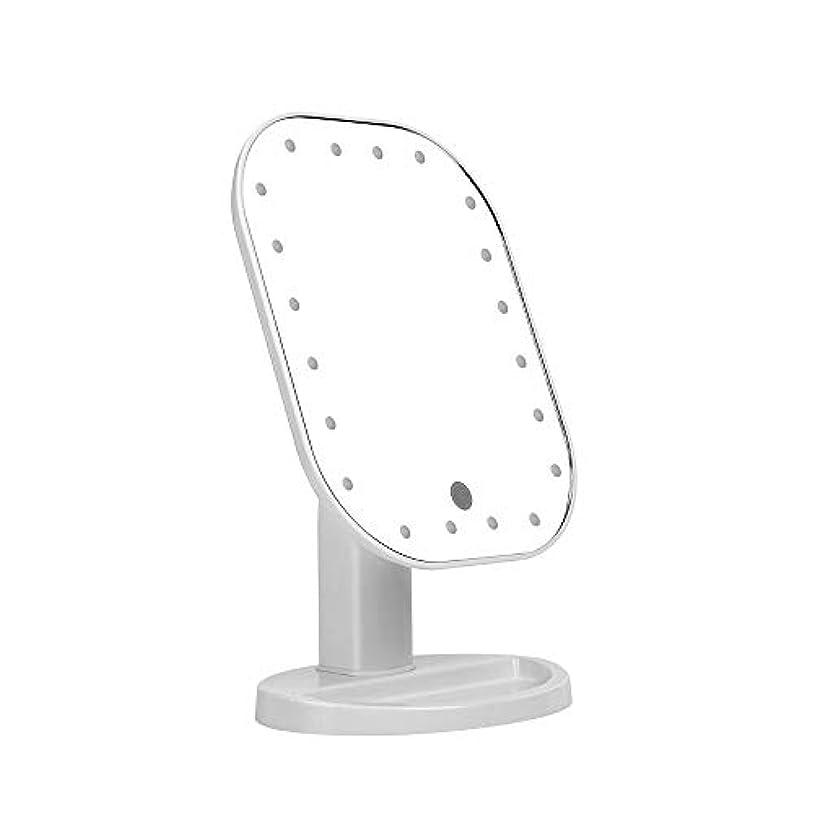 時あえぎかろうじて卓上化粧鏡、C-Timvasion 女優 化粧鏡 20個LEDライト付き タッチパネル 明るさ調節可 角度180度調節可 単三電池給電