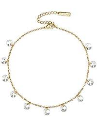 Mestige Jewellery Golden Marina Anklet with Swarovski® Crystals, Gift Women