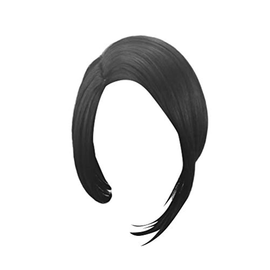 LURROSE 毎日のコスプレパーティーのための人工毛ショートブラックストレートウィッグボブヘア