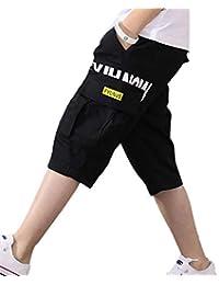 YUEGUANG 子供服 ショートパンツ 男の子 膝下 ひざ下 7分丈 ハーフパンツ クロップドパンツ カーゴパンツ ワイドパンツ ゆったりウェストゴム 通気性 カジュアル