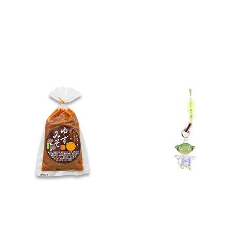 [2点セット] ゆずみそ(130g) ・ガラスのさるぼぼ 手作りキーホルダー 【緑】 /健康運・平穏・病気を寄付けない・健康祈願//