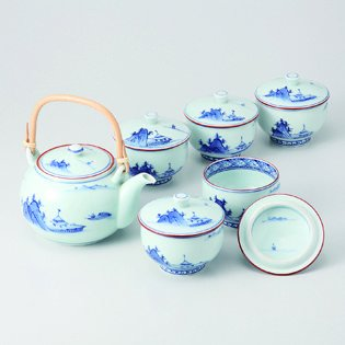 波佐見焼 洸琳山水 蓋付茶器揃 木箱入 急須 Japanese Porcelain Hasami ware gift. Set of kourinsansui kyusu teapot and 5 teacups with wooden box.