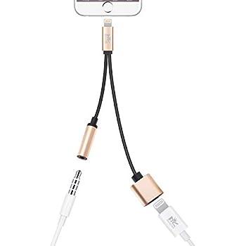 【IOS11対応】RoiCiel 2in1 ライトニングポート3.5mm端子 Adapter Audio オーディオ ジャック イヤホン ヘッドホン インタフェース 変換 アダプタ 充電ケーブル Lightning充電口付き iPhoneX/iPhone8/iPhone7/iPhone7Plus/6 6s plus 5 iPad iPodなど対応RC2LTN-064