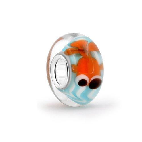Everbling スターリングシルバー SILVER 925 金魚 オレンジグラス ヨーロピアンスタイル ビーズ パンドラ チャーム ブレスレット (Pandora Charm Bracelet) に使用可能