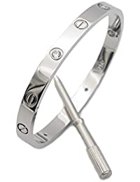 Fashion Gold Plated Stainless Steel with CZ Stone Love style Bangle Bracelet with Screwdriver