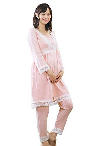 スウィートマミー (Sweet Mommy) 前開き レース ナイティ 3点セット 授乳服 / マタニティパジャマ L ピンク