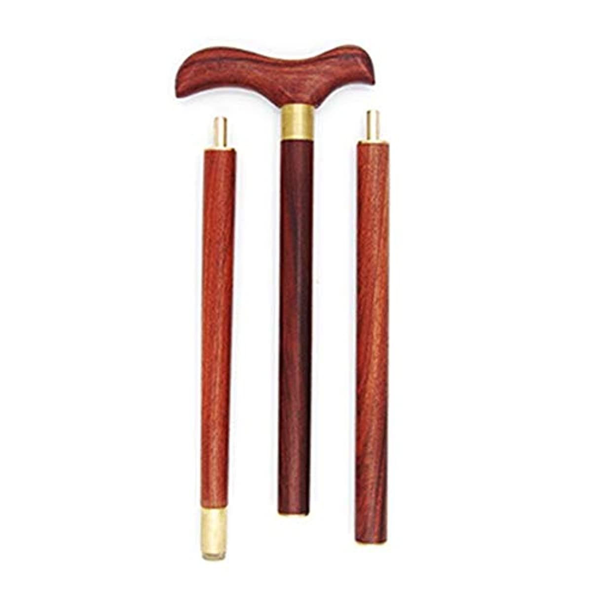 閃光大騒ぎ受信機LIULIFE木製杖高齢者用軽量折りたたみ式松葉杖アンチスキッドスティックポータブルウッドスティック、赤