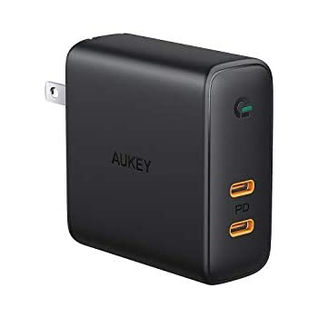 AUKEY ACアダプタ 充電器 USB-C 2ポート 急速充電器 アダプタ 63W GaN (窒化ガリウム) 採用 折畳式/PD3.0対応 iPhone XS / XS Max / XR / X、GalaxyS9、MacBook Pro、iPad Pro、Nintendo Switch/iPhone 11/11 Pro/11 Pro Maxその他USB-C機器対応PA-D5【PSE認証済み】