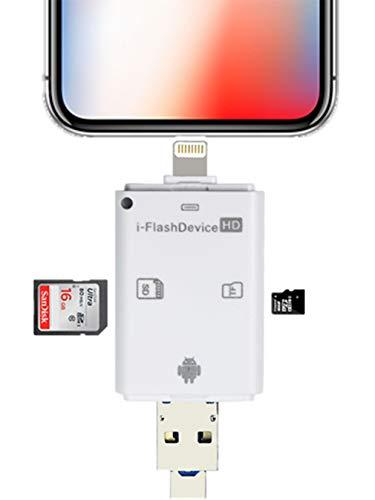PAFOR sdカードリーダー iphone sdカードリーダー android usbメモリ カードリーダー iphoneデータ保存 機器(PC不要) MicroSD TFカードリーダー iphone写真保存 (パソコン不要)カメラ用SDカード リーダー 写真 動画 直接転送可能 iPhone X 8 7 6s 6 スマホ 容量不足 解消 データ転送 データ移行 AndroidとPC直接使用できる カードリーダー 【日本語説明書・一年保証有】(ホワイト)
