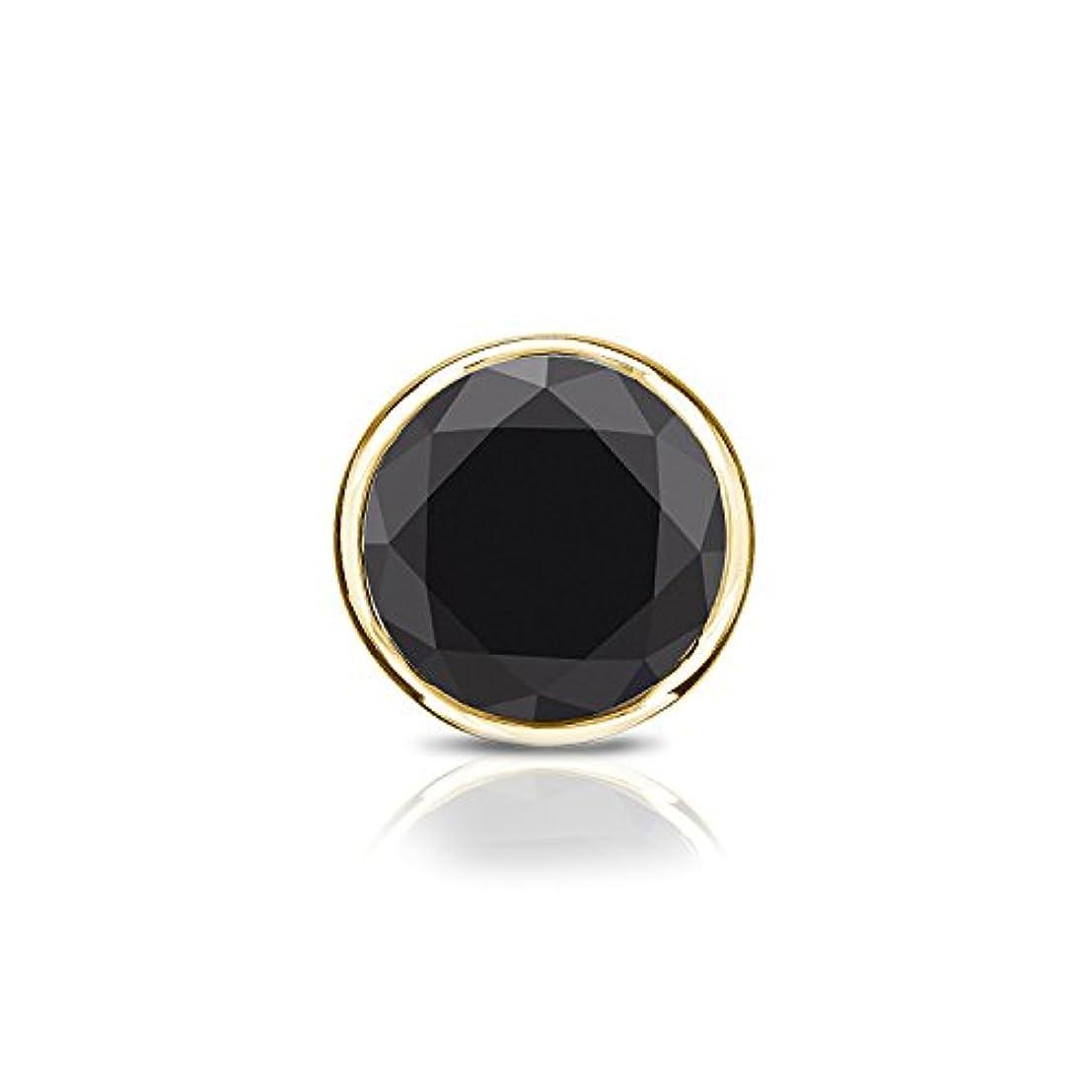 例示する言及する覆す18 Kイエローゴールドbezel-setラウンドブラックダイヤモンドシングルスタッドイヤリング( 1 / 4 – 2 ct、ブラック) screw-back